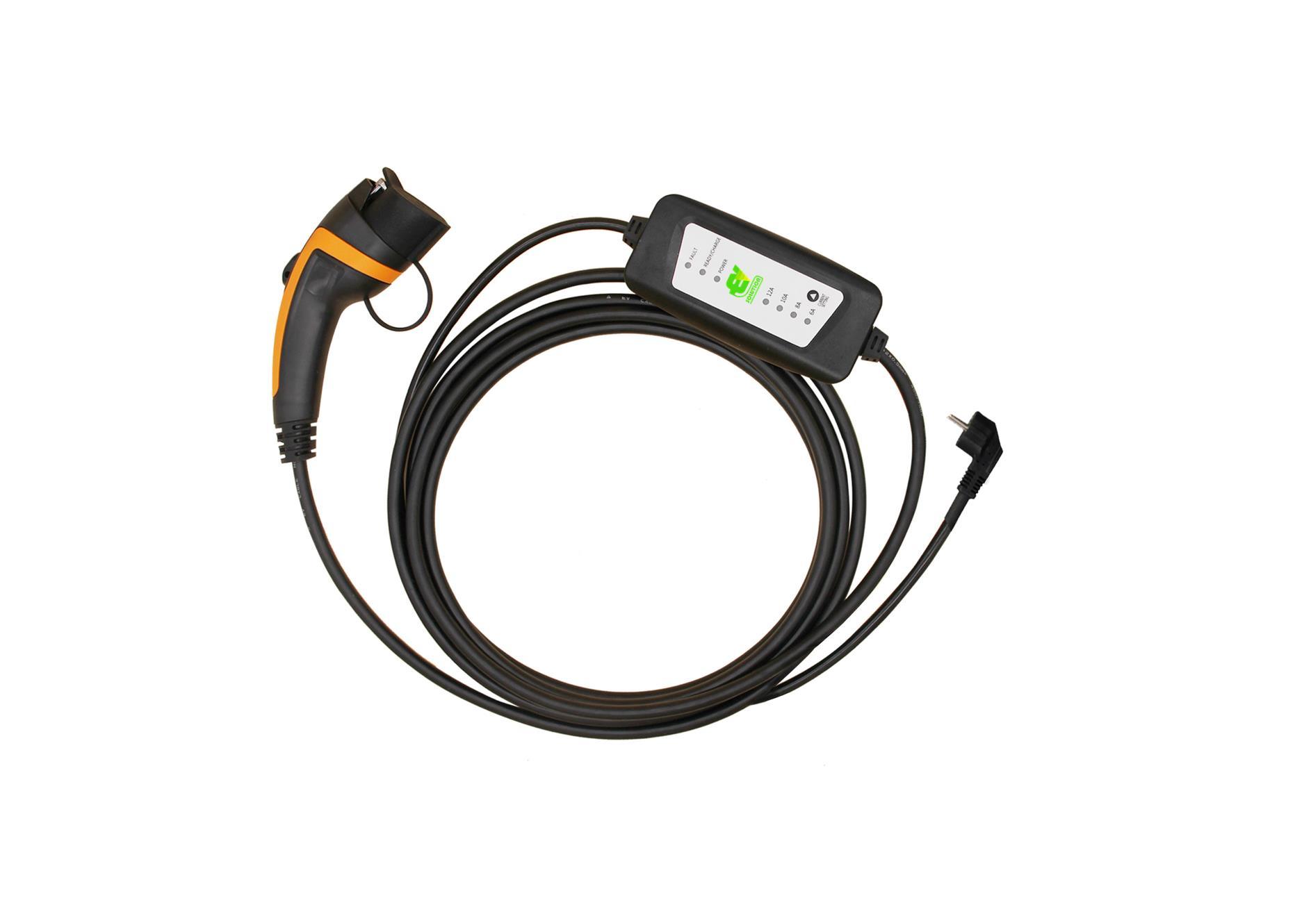 Laddkabel med justerbar laddström typ 1 6A till 16A ladda elbilen typ 1 normalladdning hemmaladdning ladda hemma elbil EV Solution AB